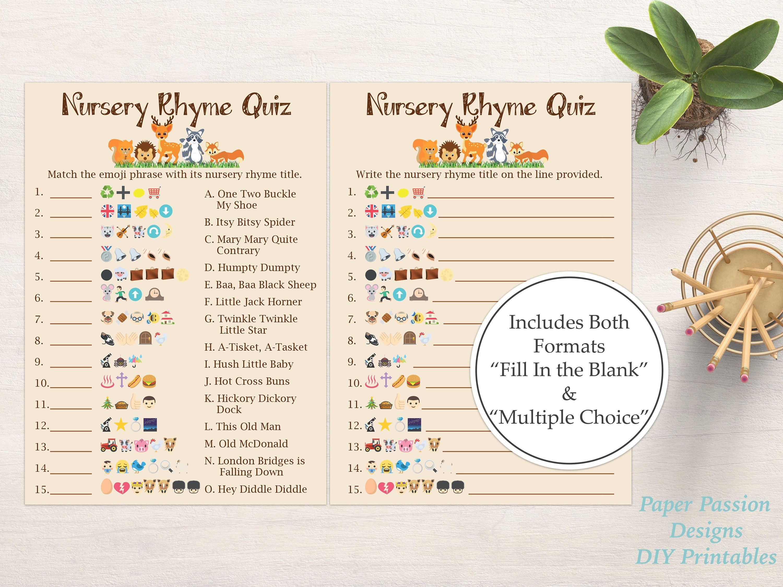 Emoji Nursery Rhyme Quiz Woodland Animal Baby Shower Game