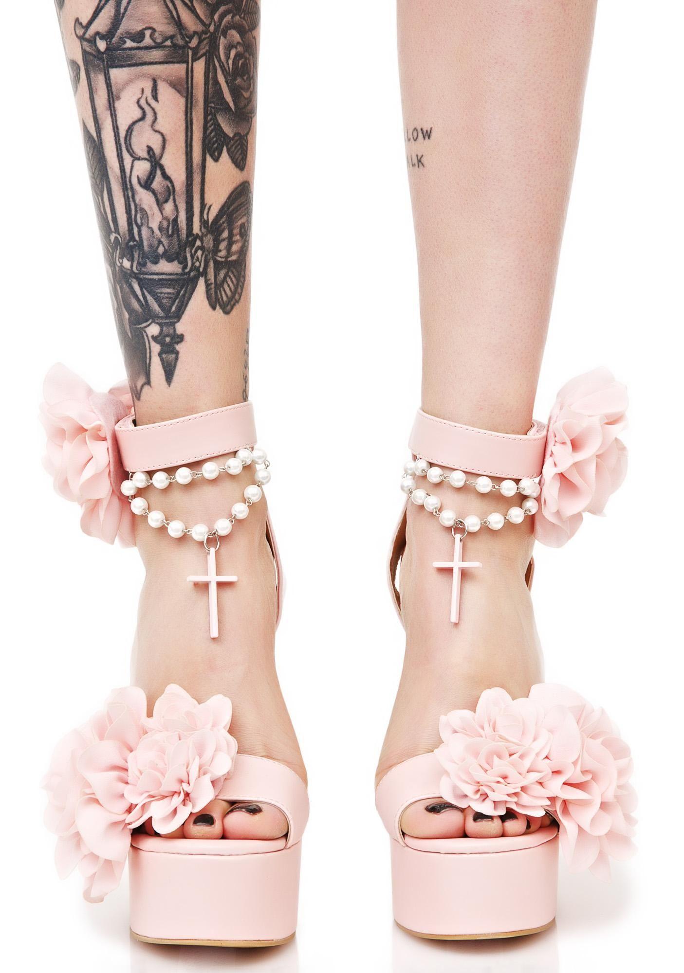 Sugarbaby Blush Rosary Platform Heels Were Hopelessly Devoted To Ya