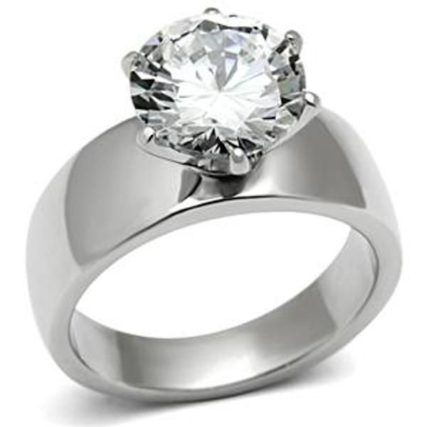 more than words a breathtaking stainless steel engagement ring with a cubic zirconia 387 ct eq stone - Womens Wedding Ring