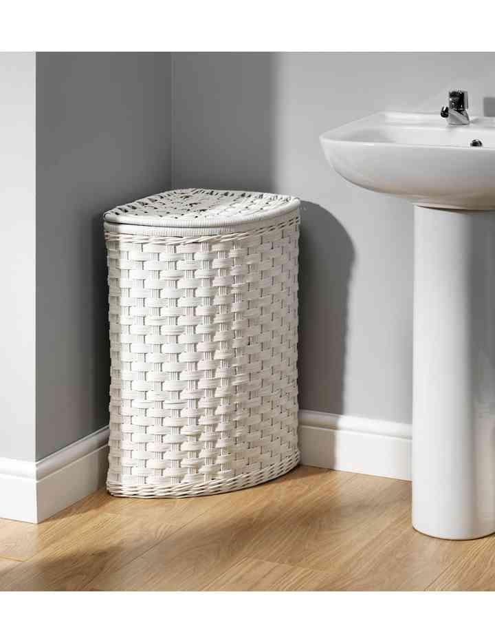 White Rattan Corner Laundry Bin