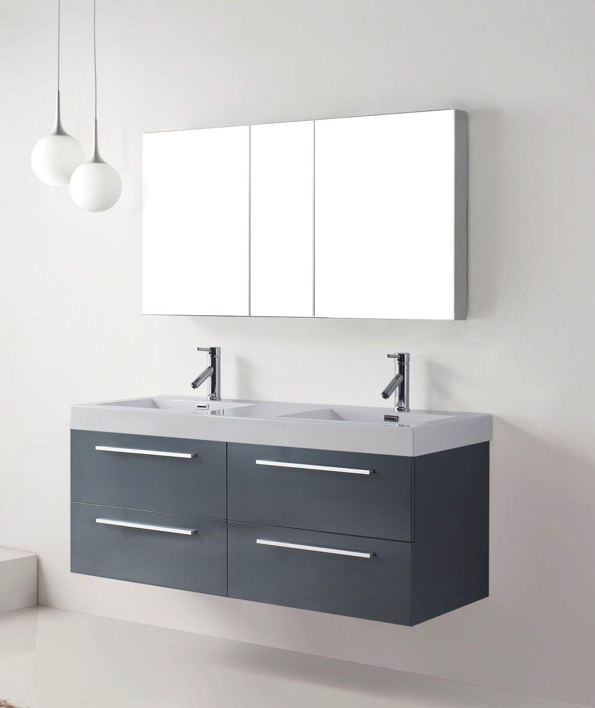 54 Inch Modern Double Sink Bathroom Vanity In Grey Finish Bathroom