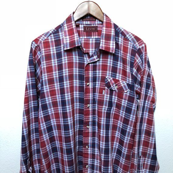 34636adc Vintage Levi's plaid shirt red white blue long sleeve check shirt checked  tailored white tab Levi 80