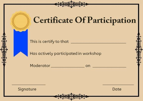 certificate of participation in workshop template