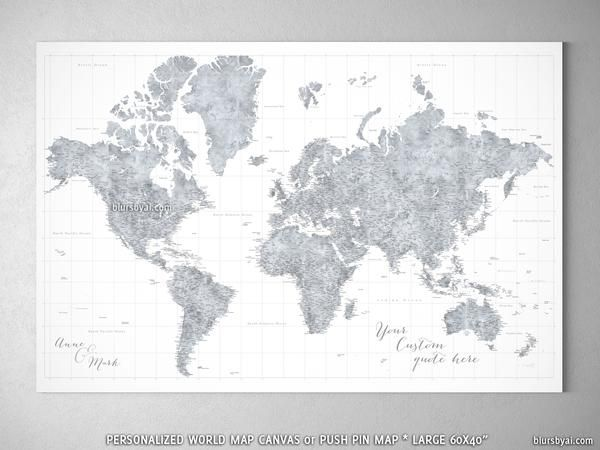 Personalized large highly detailed world map canvas print or push personalized large highly detailed world map canvas print or push pin map grayscale watercolor gumiabroncs Image collections