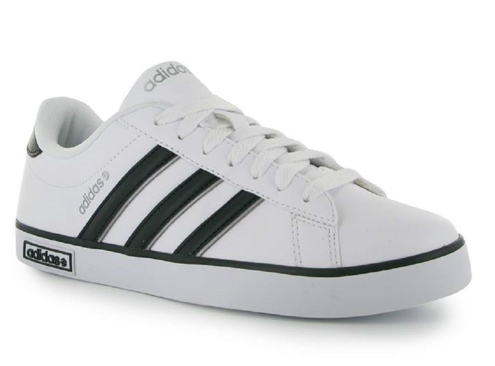 Mens Adidas Trainers Neo Co Derby Leather White Black UK Size 9 EU 43 NEW