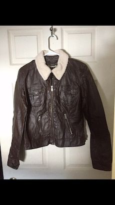 d691a736d75 Used Brown and cream leather zip-up motorcycle jacketwomens for sale ...