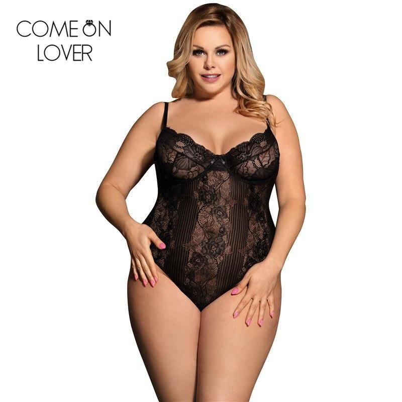 faf6a8a495 Comeonlover Summer stretchy bodysuit praia women plus size overalls  transparent sexy teddy hot bodysuit floral RL80536
