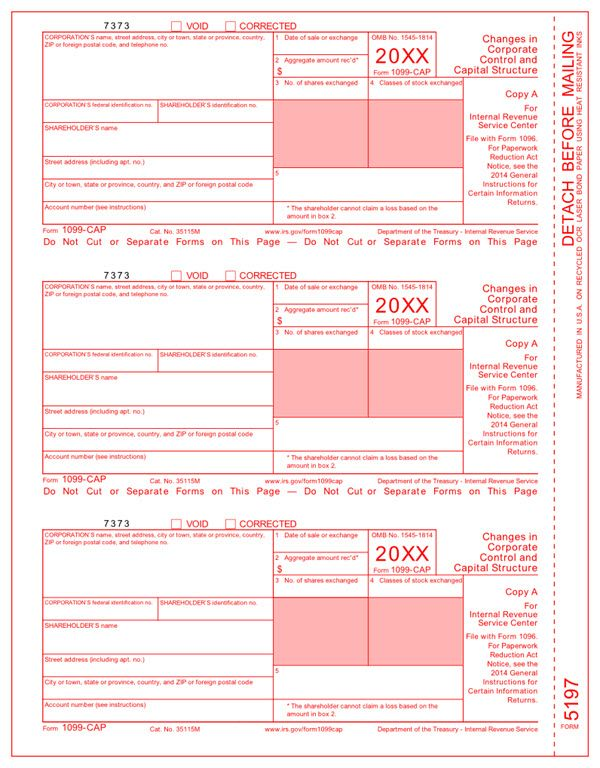 Irs Approved 1099 Cap Tax Forms File Form 1099 Cap For Shareholders