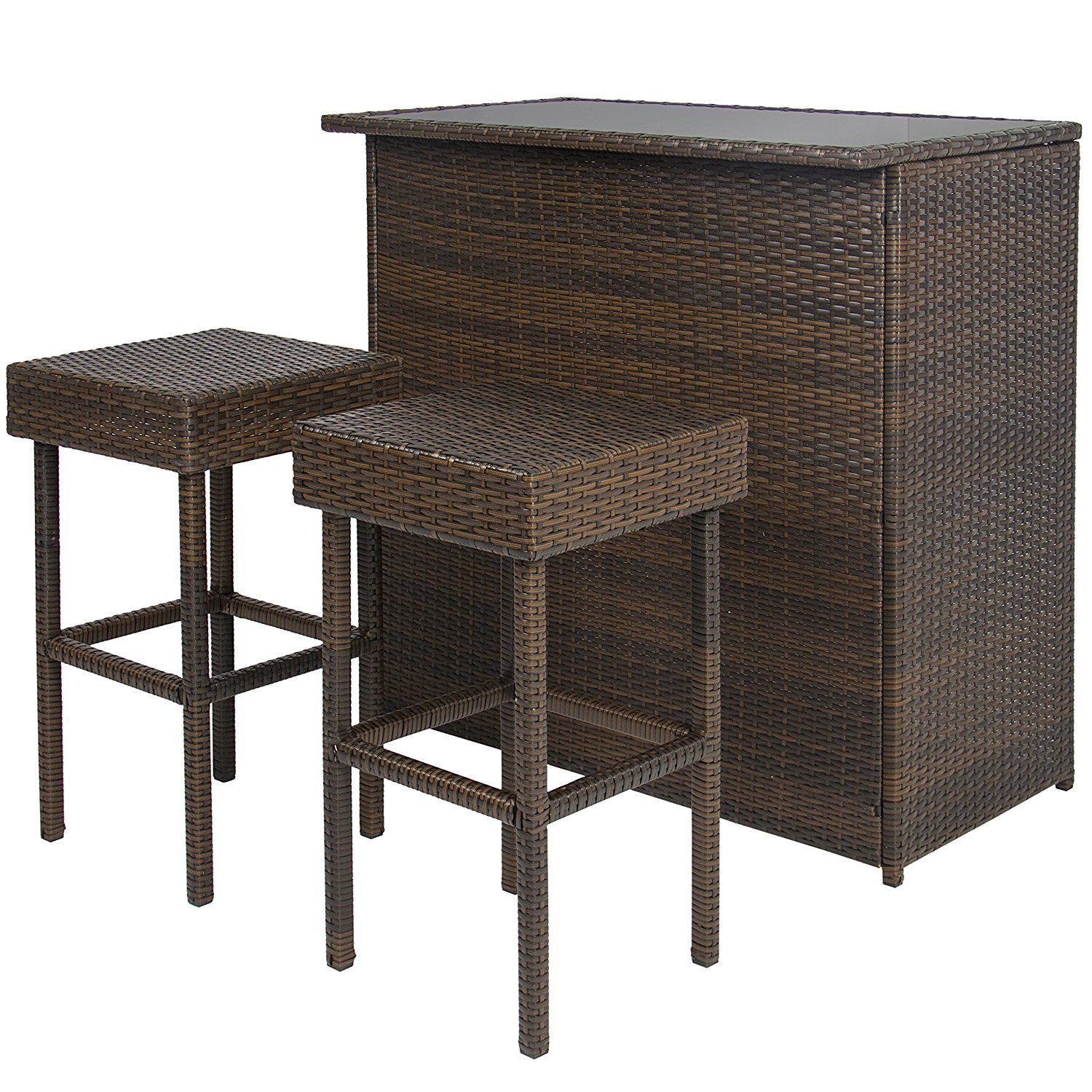 Amazon Best Choice Products 3PC Wicker Bar Set Patio Outdoor