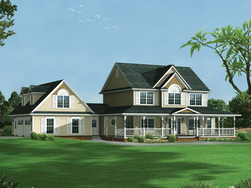 Farmhouse style two story house has garage with dormers on for Country style farmhouse plans