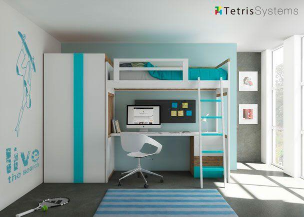 Cama alta modelo zisne con escritorio y armario - Camas altas con armario debajo ...