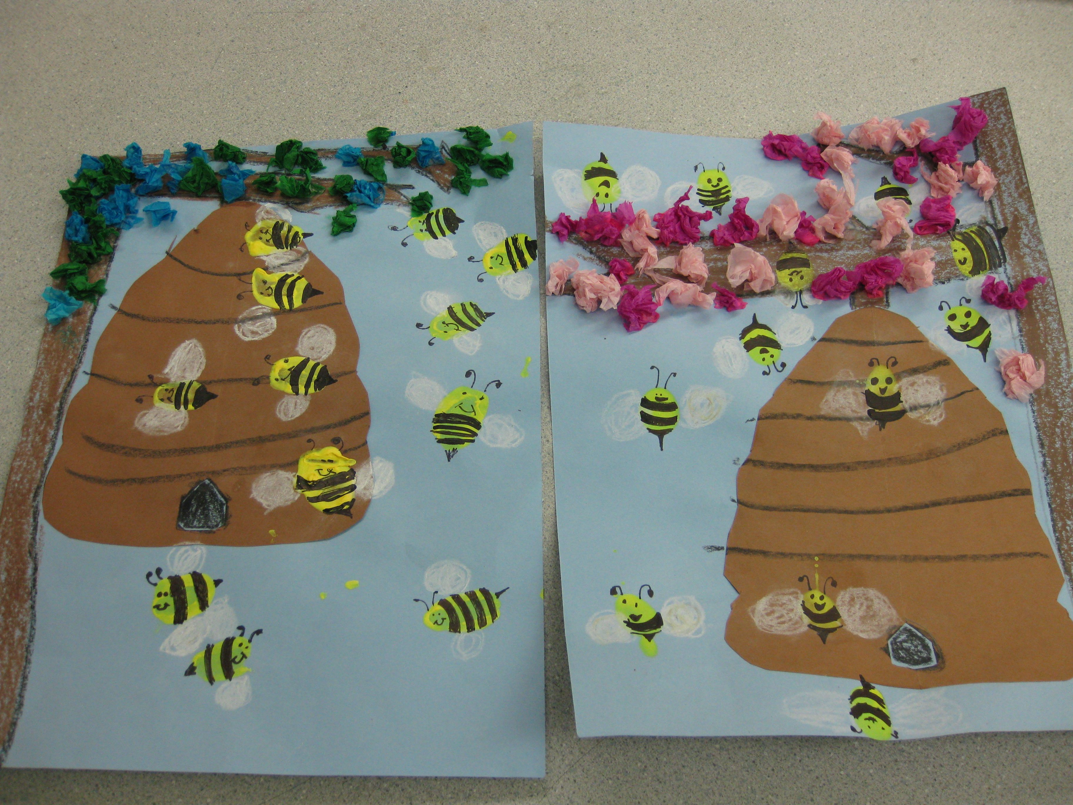 Finger Print Bees In A Hive Gr K