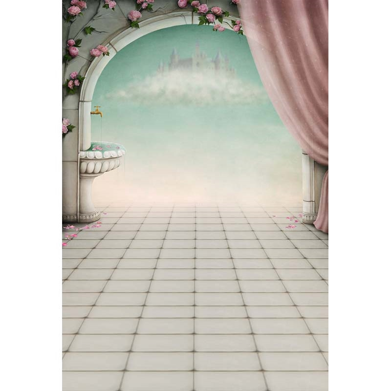 14.00$  Watch now - http://ali291.shopchina.info/go.php?t=32806524216 - Custom vinyl cloth castle flowers arched door photography backdrops for wedding kids photo studio portrait backgrounds CM-6925  #shopstyle