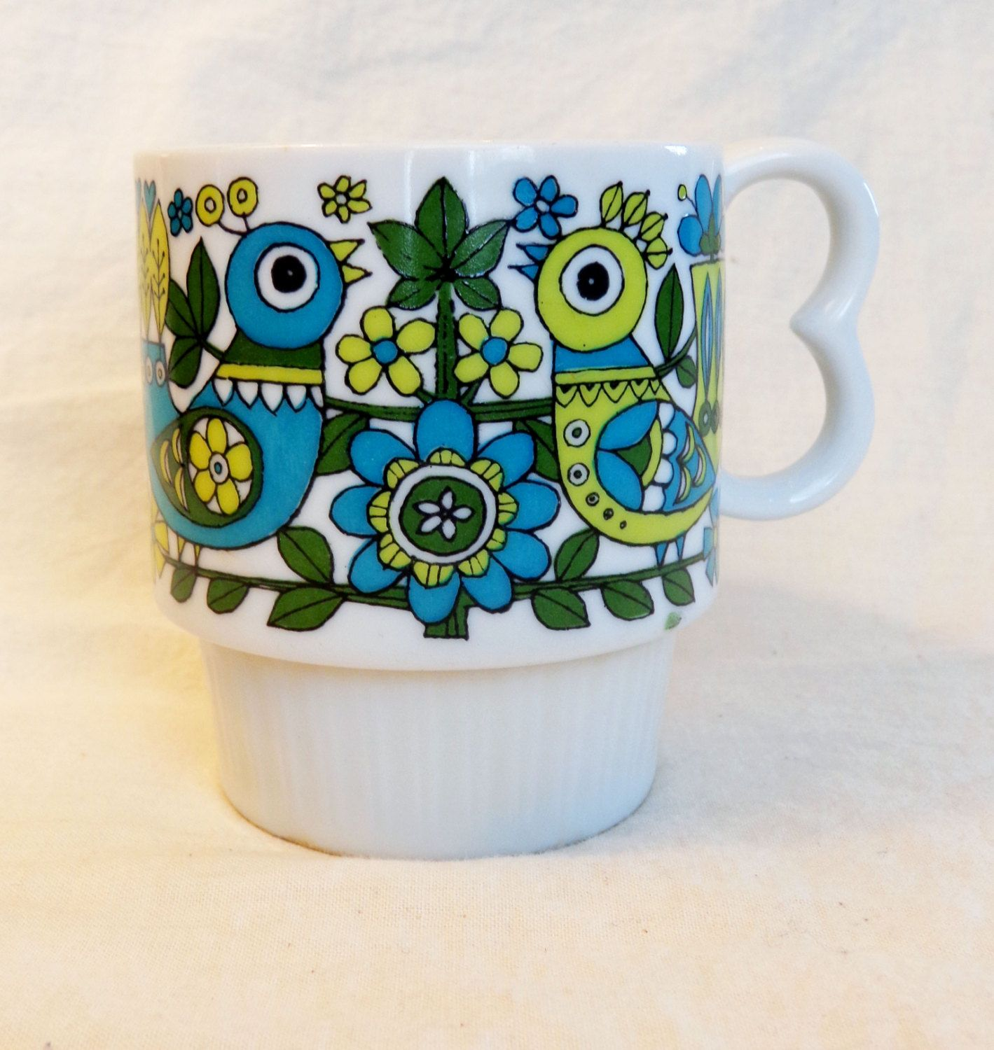 Retro Floral Print Coffee Cup 1960 S Or 70 S Mug With Blue Green