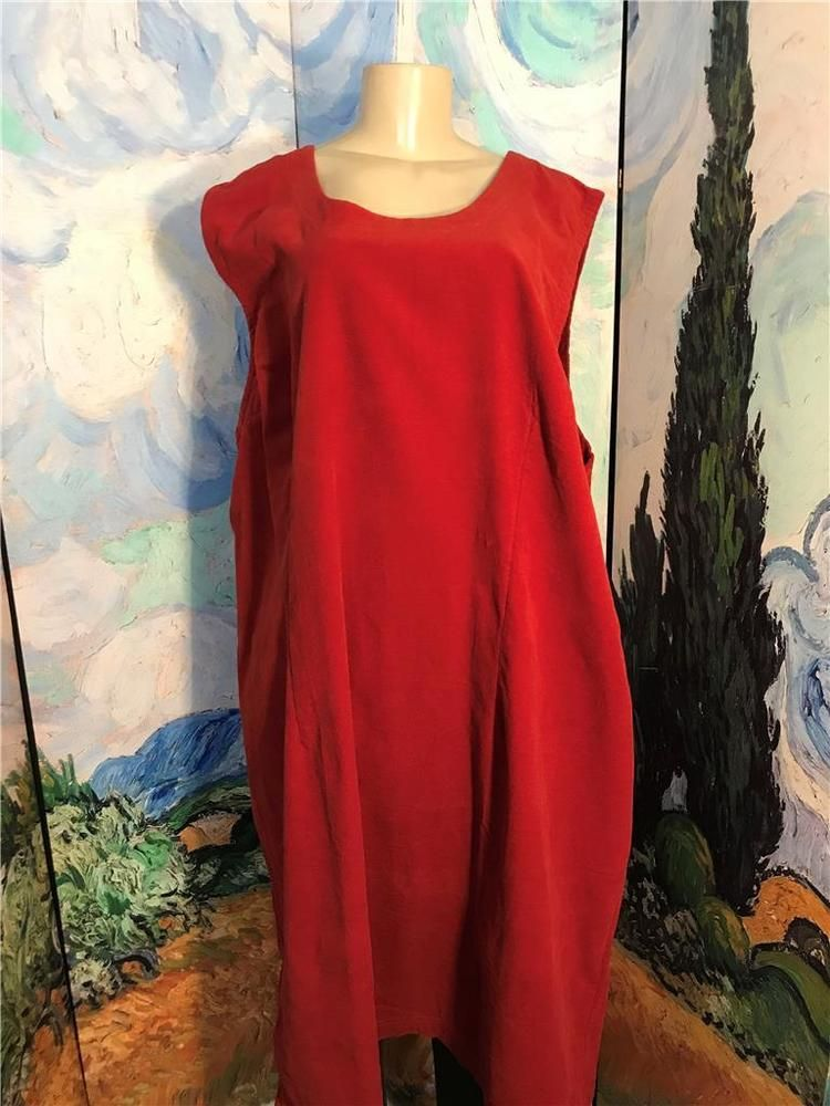 Woman Within Plus 4x New Solid Red Brick Corduroy Below Knee