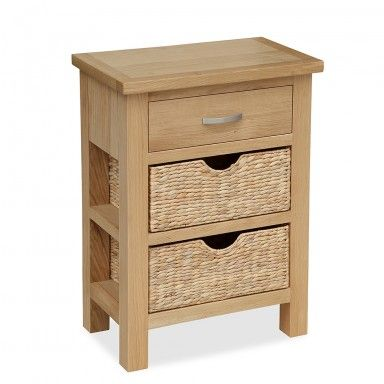London Oak Telephone Table With Baskets
