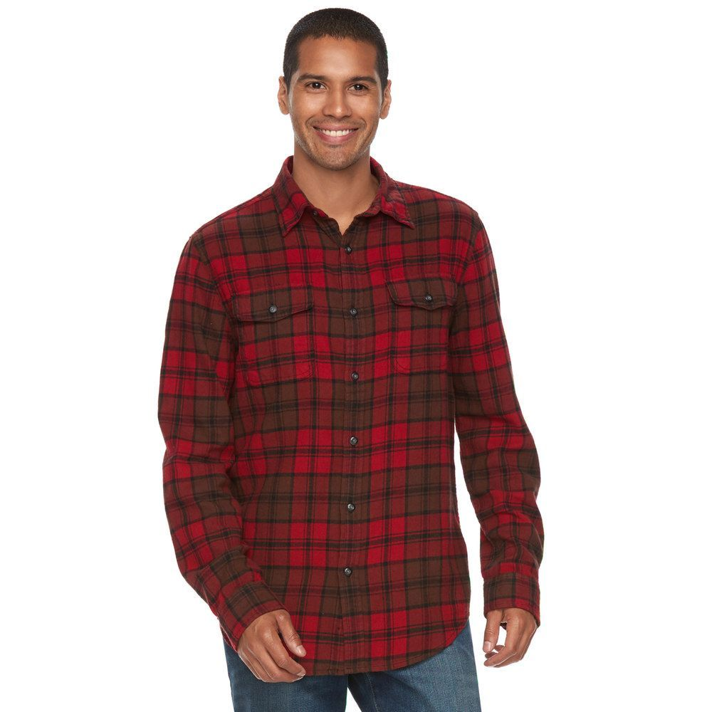 Red flannel shirts  Big u Tall SONOMA Goods for Lifeâue SlimFit Plaid Stretch Flannel