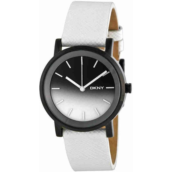 DKNY Black and Grey Gradient Dial White Leather Ladies Watch ($85) ❤ liked on Polyvore featuring jewelry, watches, dkny, white watches, dkny watches, leather crown and leather jewelry