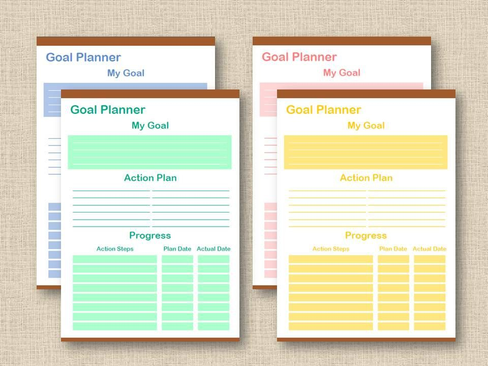 Goal Planner Printable A A Letter Size  X  Pastel