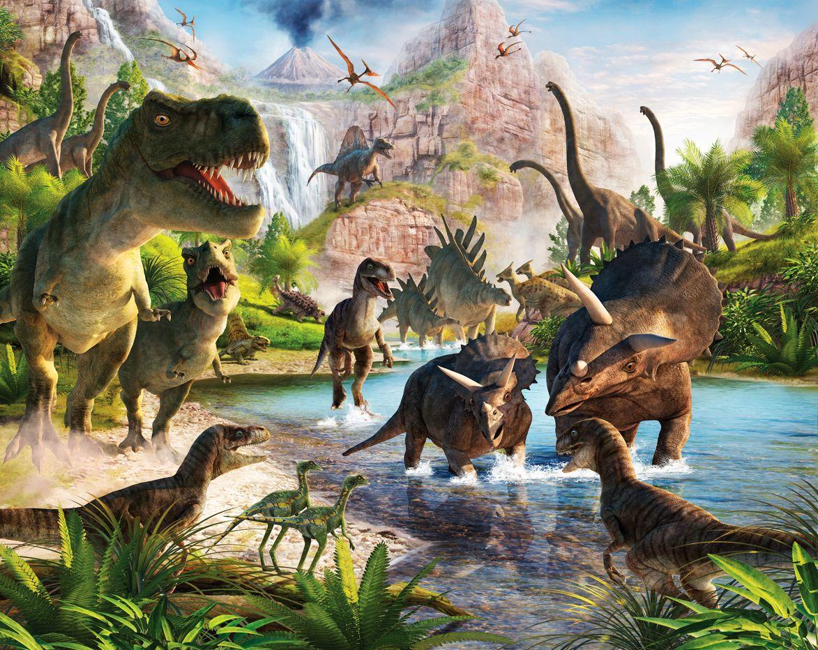 Fototapete Kinderzimmer Dinos Dinosaurier inkl. Tapetenkleister gibt ...