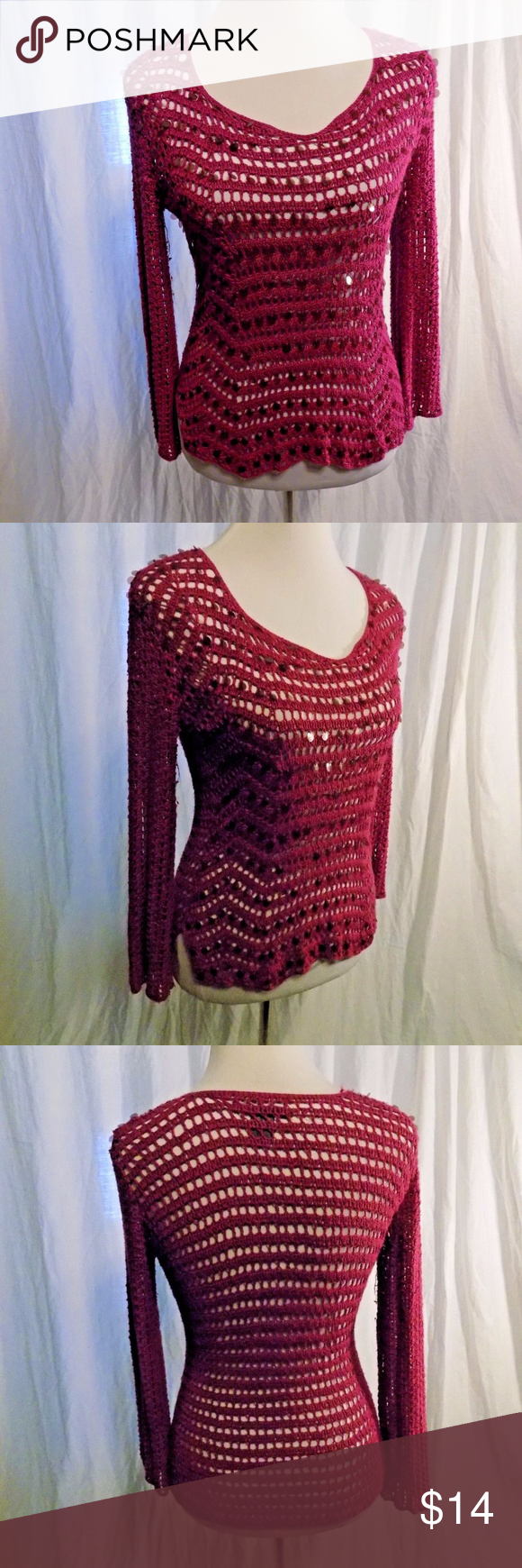 Bette Sung L Purple Sweater Crochet Knit Scoop Brand: Bette Sung ...