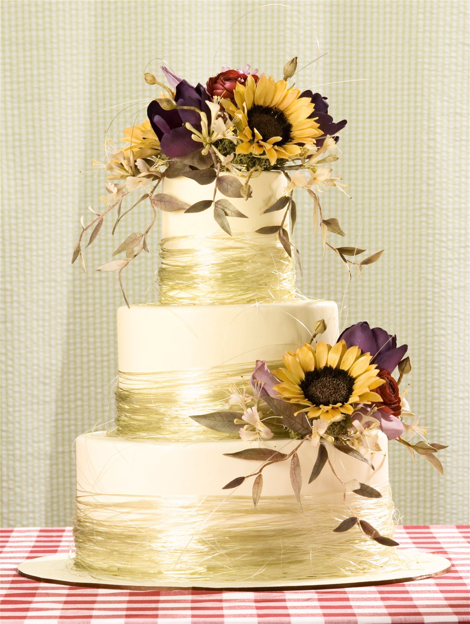 Elizabeth hodes custom cakes and sugar art fondant white ivory elizabeth hodes custom cakes and sugar art fondant white ivory gold yellow black rust red purple green purple flowers and sunflowers dhlflorist Image collections