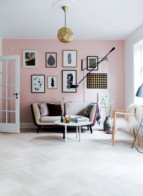 Scandinavian Style Living Room With A Pink Accent Wall Pastel