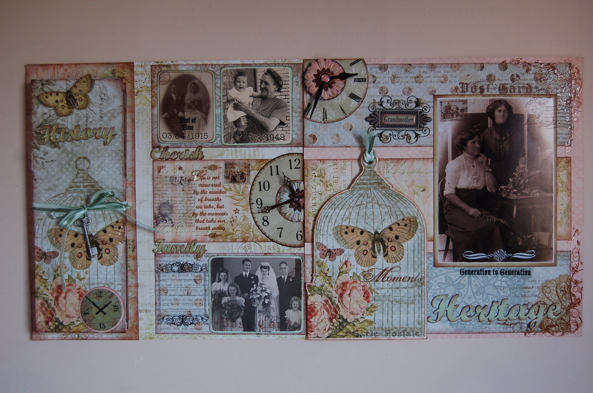 """""""Heritage""""double page scrapbook layout by Jamie Penson.  jamieshappyscrapping@blogspot.com"""