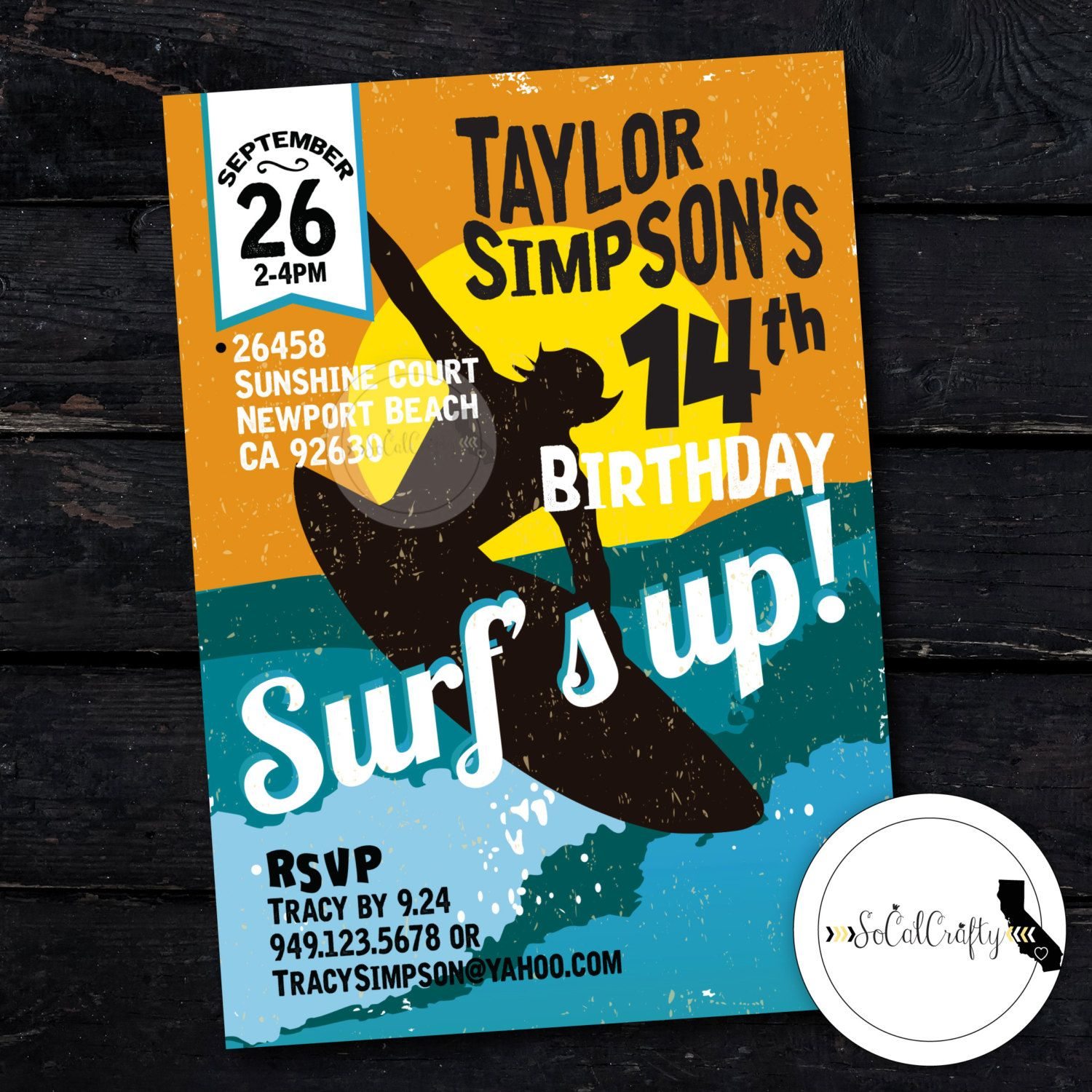 Surf Birthday Party Invitation Beach Surfer Invite Surfing – Printed Party Invitations