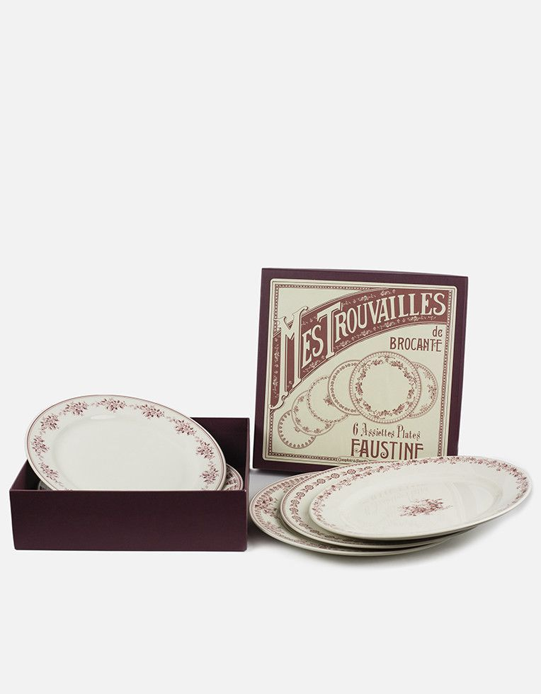 Box of 6 Dessert Ivory Earth Ware Dessert Plates