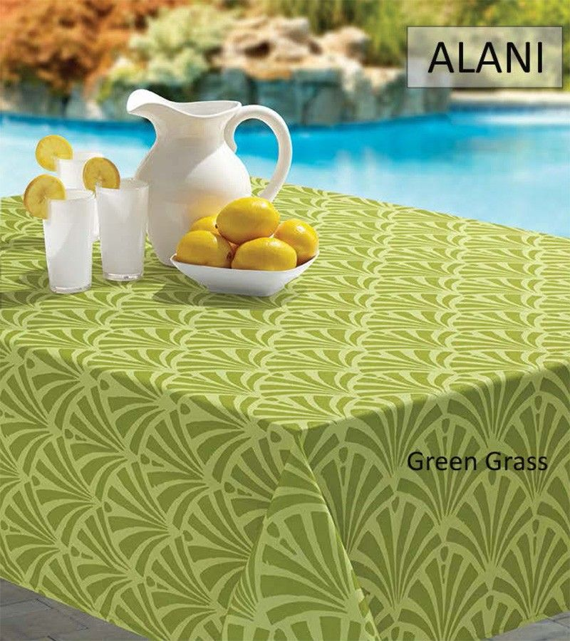 BENSON MILLS ALANI SPILL PROOF INDOOR AND OUTDOOR TABLECLOTH - GREEN GRASS