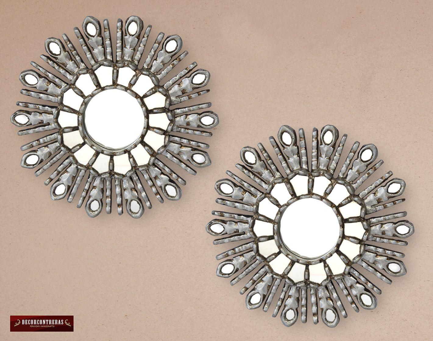 Set de 2 espejos decorativos estilo cuzco 30cm sol for Adornos para el hogar