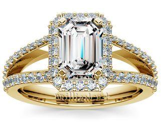 Emerald Halo Split Shank Diamond Engagement Ring in Yellow Gold  http://www.brilliance.com/engagement-rings/halo-split-shank-diamond-ring-yellow-gold