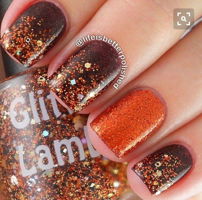 Fall Orange Brown Gold Nail Designs Fall Wedding Nails Thanksgiving Nails
