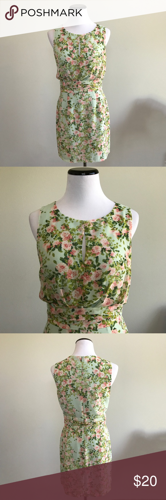 Mint green floral dress Green floral dress from Forever 21. Worn once to a wedding. Small keyhole front. All over floral print. Size small. No PayPal, holds or trades. Bundle to save. 💸 Open to offers! Forever 21 Dresses