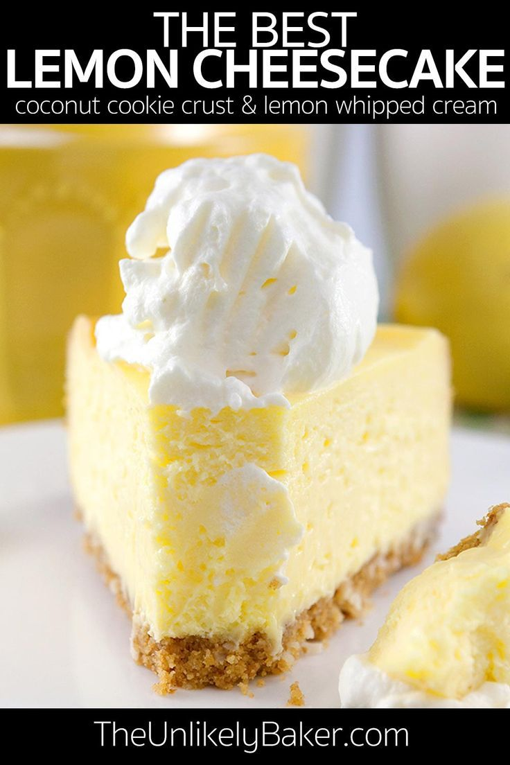 Photo of This is the best lemon cheesecake recipe ever. Light and fluffy. Delicious cookie crust. Easy to bak
