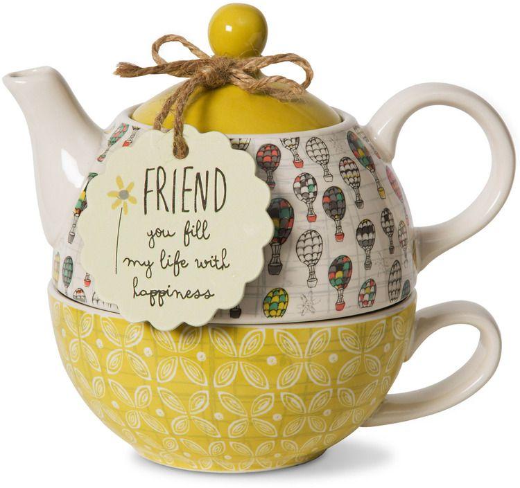 Friend 15 oz teapot 8 oz cup bloom by amylee weeks