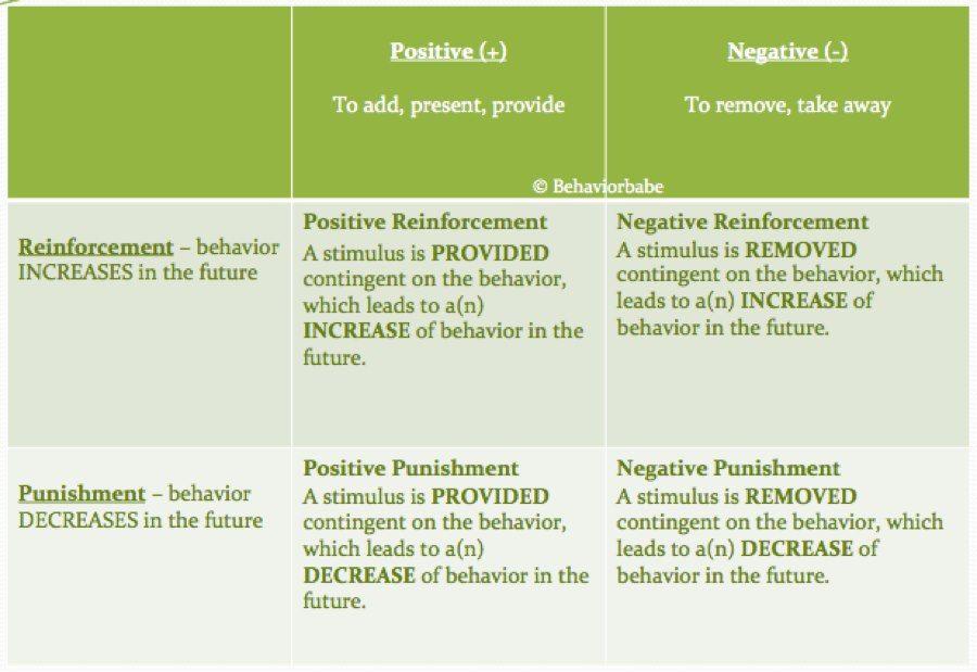 Positive Negative Reinforcement Punishment Applied Behavior
