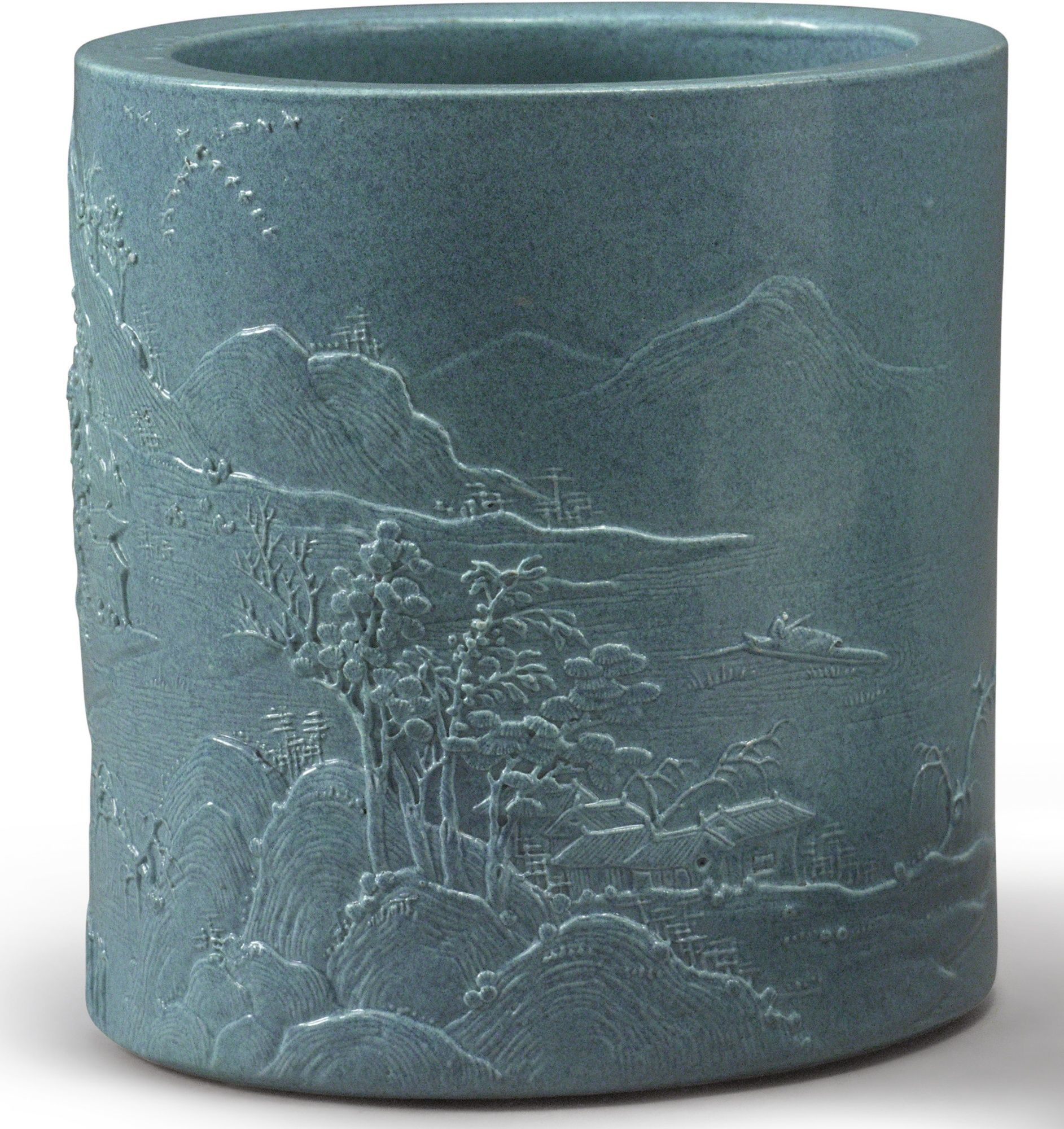 A CARVED ROBIN'S-EGG-GLAZED BRUSHPOT, LATE QING DYNASTY