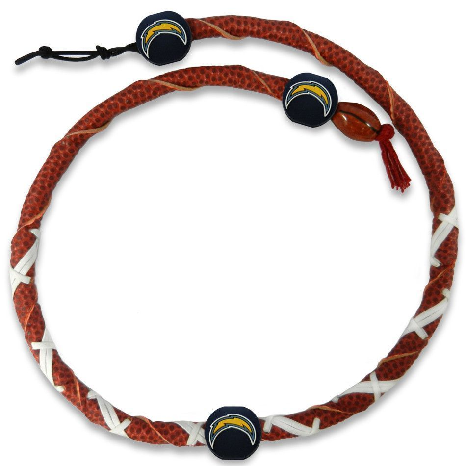 San Diego Chargers Brown Twisted Leather Football Necklace