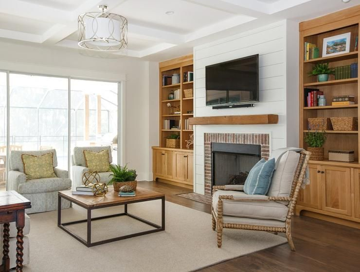 Troy Lighting Sausalito Pendant Accents A Coffered Ceiling Illuminating A  White Shiplap Fireplace Wall Lined With