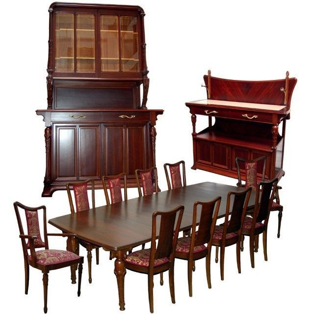 1179 13 Pc French Art Nouveau Mixed Wood Dining Set By Hector Guimard