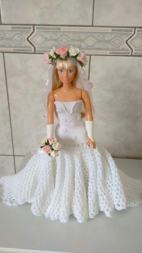 Vestido de noiva em croche para boneca | Barbie | Pinterest | Selber ...
