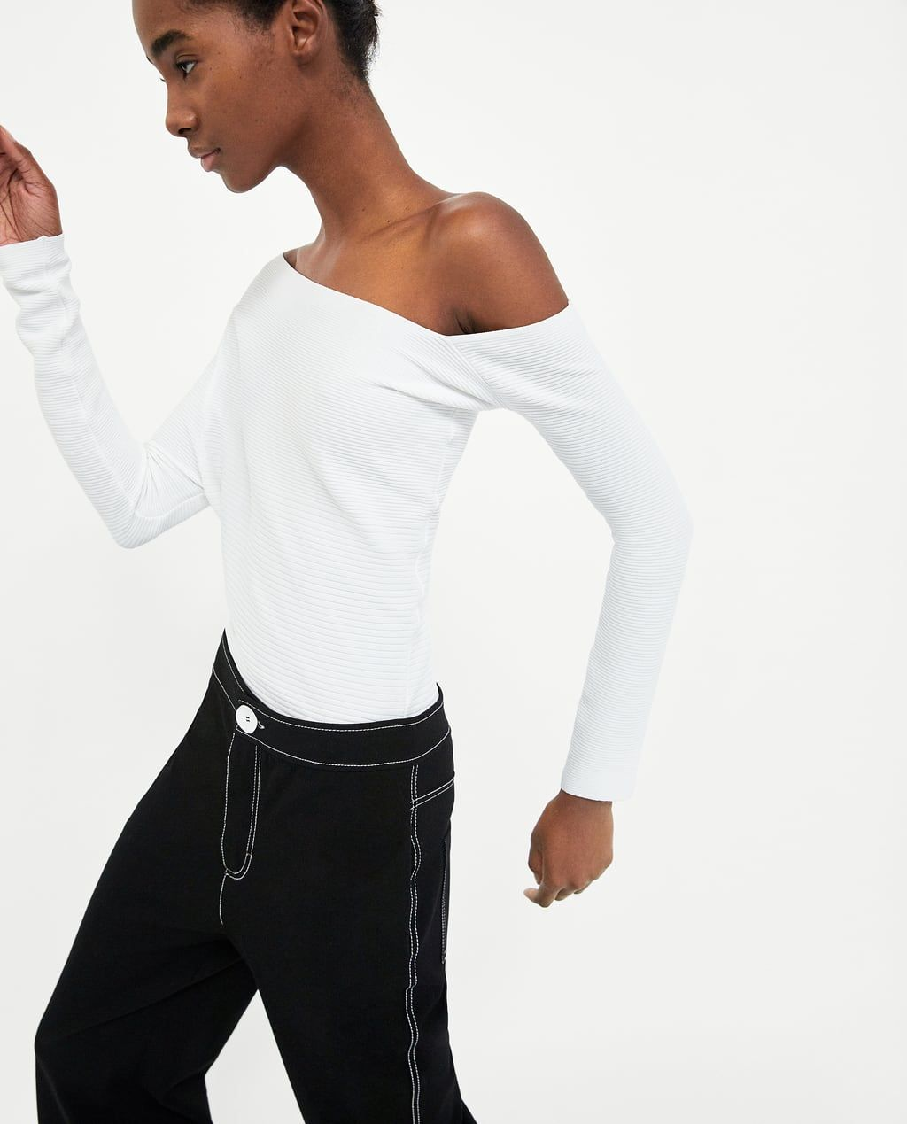 e856642f1f Limited edition tank bodysuit   Wishlist   Asymmetrical tops, Tops, Zara
