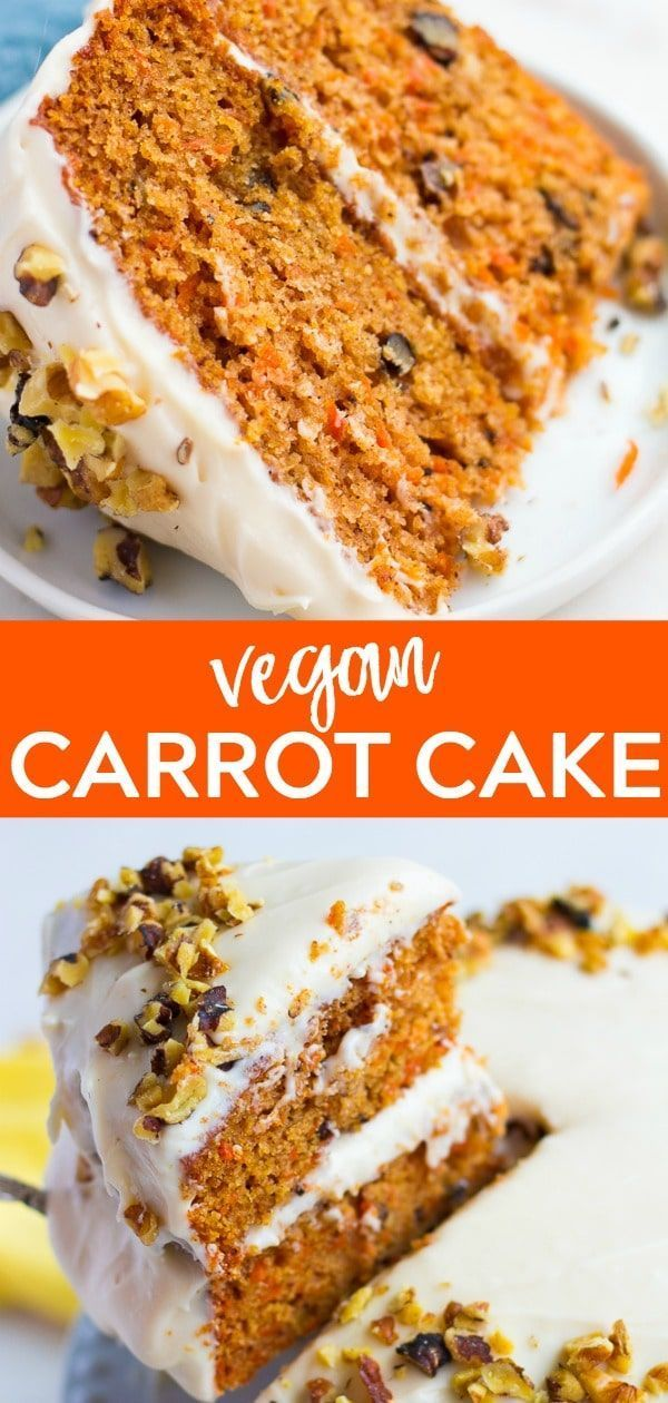 This Vegan Carrot Cake with Cream Cheese Frosting is EASY to make, perfectly spiced and super moist! #vegan #plantbased #creamcheesefrosting
