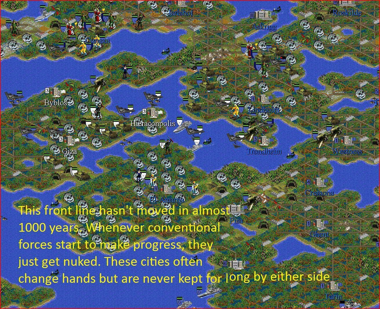 This guy has been playing the same game of Civilization 2 for almost Ten years. Here is the result.