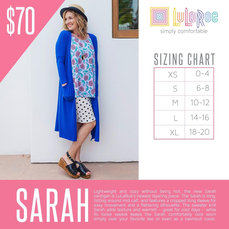 2016 LuLaRoe Sarah Sizing Chart Lularoe sarah sizing
