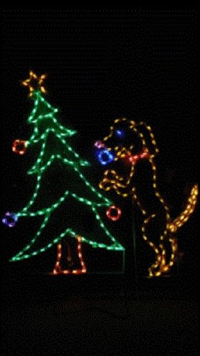 Dog Decorating Christmas Tree Outdoor LED Lighted Decoration Steel ...