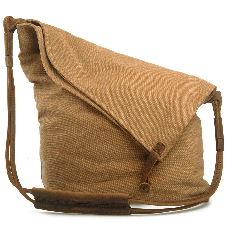 a12baa3b1f EcoCity Unisex Hobo Canvas Cross Body Handbag Purse Messenger Shoulder  Satchel Bag School Bags HB0065G3 (Grey)  Handbags  Amazon.com