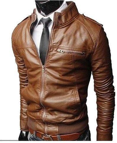Men's leather jacket Men brown Slim fit by Myleatherjackets, $149.99